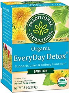 Traditional Medicinals Organic EveryDay Detox Dandelion Detox Tea, Promote Healthy Liver and Kidney Function, 96 Tea Bags ...