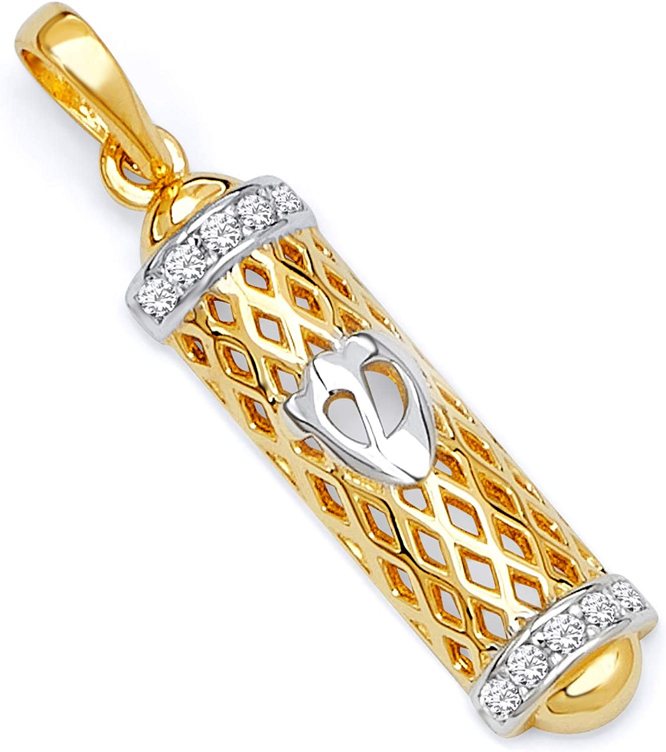 Wellingsale Over item handling Don't miss the campaign 14k Two 2 Tone White Gold Mezuzah Yellow Pendant and