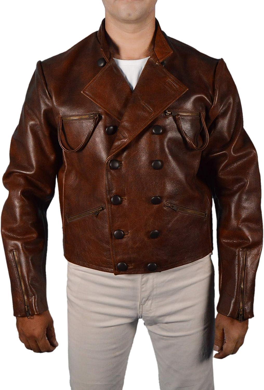 F&H Men's Genuine Leather Jason Momoa Superhero Jacket