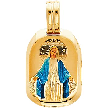 TWJC 14k Yellow Gold Religious Blessed Virgin Mary and Jesus Enamel Picture Charm Pendant
