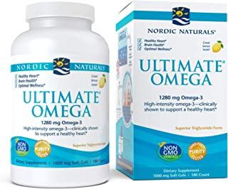 Nordic Naturals Ultimate Omega, Lemon Flavor - 1280 mg Omega-3-180 Soft Gels - High-Potency Omega-3 Fish Oil with EPA & DH...