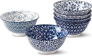 Selamica Porcelain Bowls Set - Set of 6, ceramic bowls for Cereal, Soup, Salad and Pasta, Assorted Designs