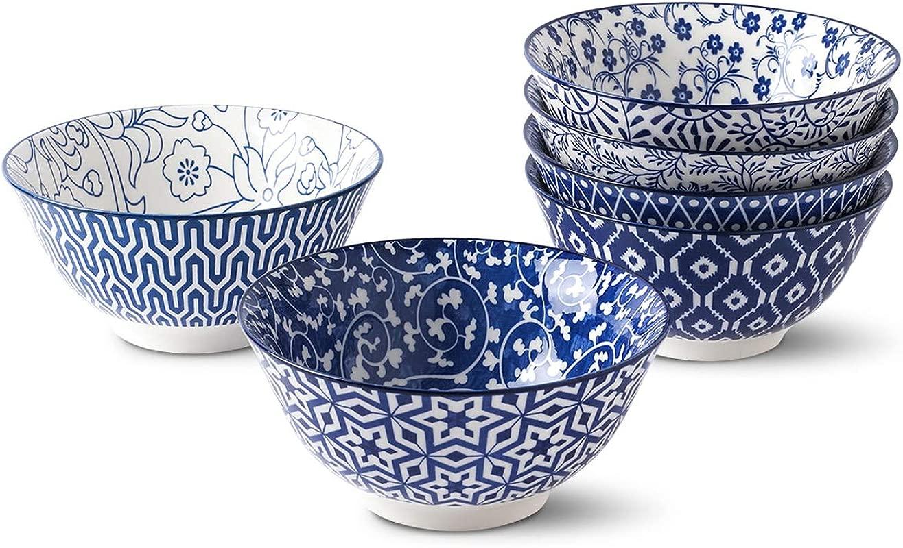 Selamica Porcelain Bowls Set Set Of 6 Ceramic Bowls For Cereal Soup Salad And Pasta Assorted Designs