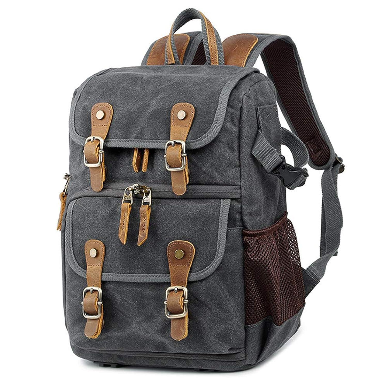 Shirleyle Unisex Casual Camera Backpack Canvas Camera Backpack Waterproof Front Open Camera Bag DSLR SLR Travel Bag for Canon Nikon Sony for Cameras Lenses Tablet (Color : Grey)