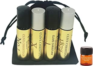 Fragrance Oil Impression; Premium Quality Clive Ch Oil for Men; 4-Piece Bundle Set (Clive No 1, X, 1872, L); 10ml Glass Ro...