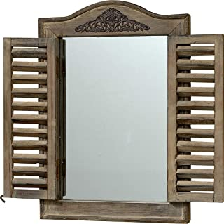 WHW Whole House Worlds French Country Style Rustic Window Mirror with Shutters, Sustainable Wood, Approx. 18 Inches High, Distressed Gray Wash with Vintage Style Metal Decoration