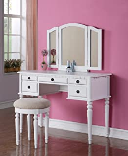 bobkona st. croix collection vanity set with stool black