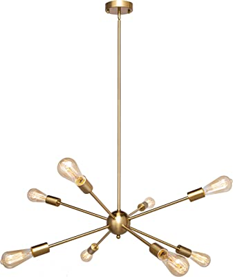 FIMITECH Industrial Sputnik Chandeliers 8 Lights Vintage Pendant Light Ceiling Light Fixture for Dining Room,Bed Room,Kitchen Island (Gold)