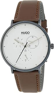 Hugo Boss Men's White Dial Brown Leather Watch - 1530008