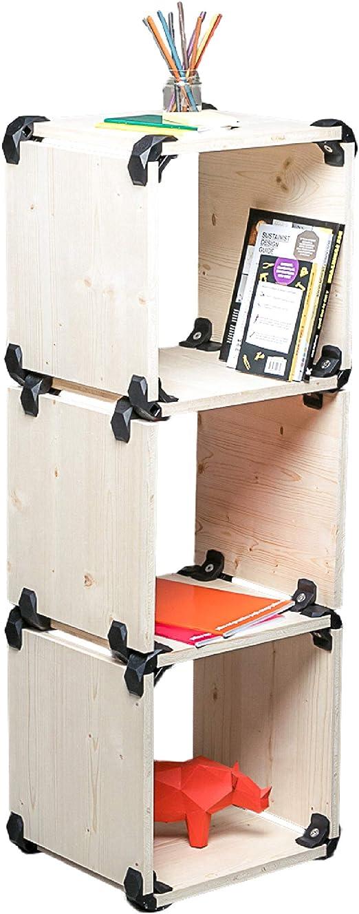 PlayWood 4 paneles rectangulares y 4 paneles cuadrados Rojo Medidas 80x80x35cm kit multifuncional componible y estanter/ía de dos estantes Realizado en madera clara de abeto con 16 conectores