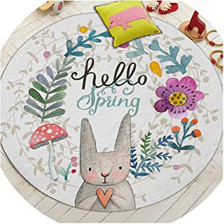 I'll NEVER BE HER Cartoon Rabbit Printed Round Carpet for Living Room Computer Chair Area Rug Children Play Tent Floor Mat Cloakroom Rug,6,100cm Diameter