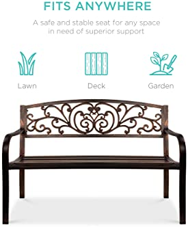 Best Choice Products 50in Steel Garden Bench for Outdoor, Park, Yard, Patio Furniture Chair w/Floral Design Backrest,...