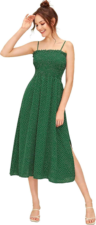 SheIn Women's Sleeveless Straps Shirred Floral Print Ruffle Flare A Line Midi Dress
