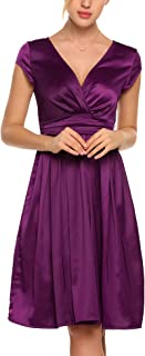 Women Deep V-Neck Empire Waist Satin Cap Sleeve Short Bridesmaids Cocktail Party Dress
