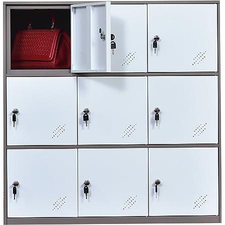 9 Door Metal Locker, Office Cabinet Locker,Living Room and School Locker Organizer,Home Locker Organizer Storage for Kids,Bedroom and Office Storage Cabinet with Doors and Lock for Cloth White