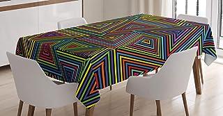 ABAKUHAUS Géométrique Nappe, Couleurs Design Rainbow, Linge de Table Rectangulaire pour Salle à Manger Décor de Cuisine, 1...