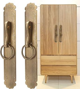 Chinese Door Knocker Vintage Solid Brass Handle Antique Straight Big Door Knocker for Kitchen Drawer Pulls Cabinet