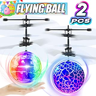 Camlinbo 2 Pack LED Flying Ball Toys, RC Flying Toys for Kids Birthday Holiday Gifts Boys Girls Rechargeable Ball Drones Infrared Induction Helicopter with 2 Remote Controller Indoor Outdoor Games