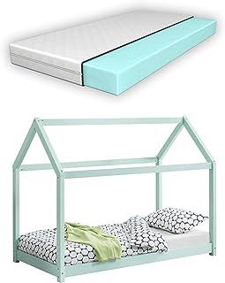[sv.casa] Barnsäng med madrass i olika storlekar och färger trä hus design furu säng träsäng hussäng kallskummadrass ekote...