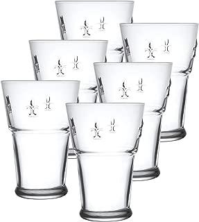 La Rochere 7121.01 Set of 6, 12.5 oz. Fleur De LYS Decor Tall Tumbler Drinking Glasses, 13.5-Oz, Clear