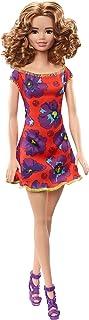 Barbie Fashionista lalka z brązowymi włosami falowane i z czerwoną sukienką z kwiatem (Mattel GBK95) kolor / model posorto...