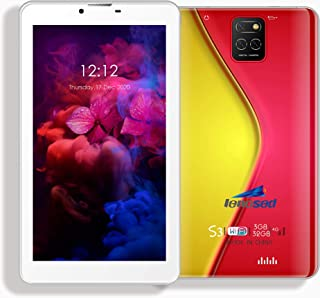 Lenosed S3, Tablet 7 Inch Dual Sim Android 8.1, 64GB, 4GB DDR3, 4G, Wi-Fi, Dual Camera (red)