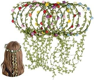 Kaptin 10 Pack Multicolor Flower Crown Headband, Women Girl Fashion Floral Crown Garland Headbands for Festival Celebration Wedding Party