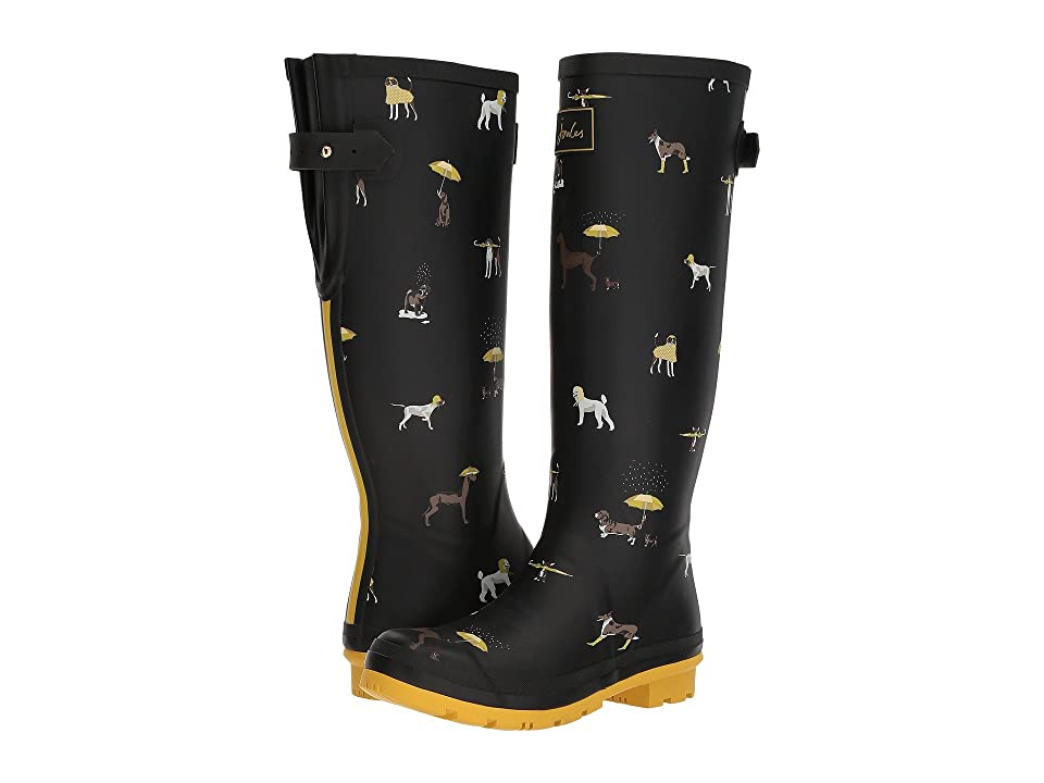 Joules Tall Welly Print (Black Raining Dogs Rubber) Women