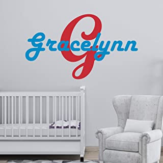 Personalized Girl's Name And Initial Wall Decal, Choose Your Own Name, Initial And Letter Styles, Multiple Sizes, Girl's Nursery Wall Decor, Custom Name & Initial, Wall Sticker Decor, Wall Decor