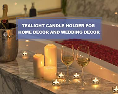 LAMORGIFT Glass Tealight Candle Holder Set of 24 - Clear Tea Lights Candle Holders for Wedding Centerpieces& Party Decora