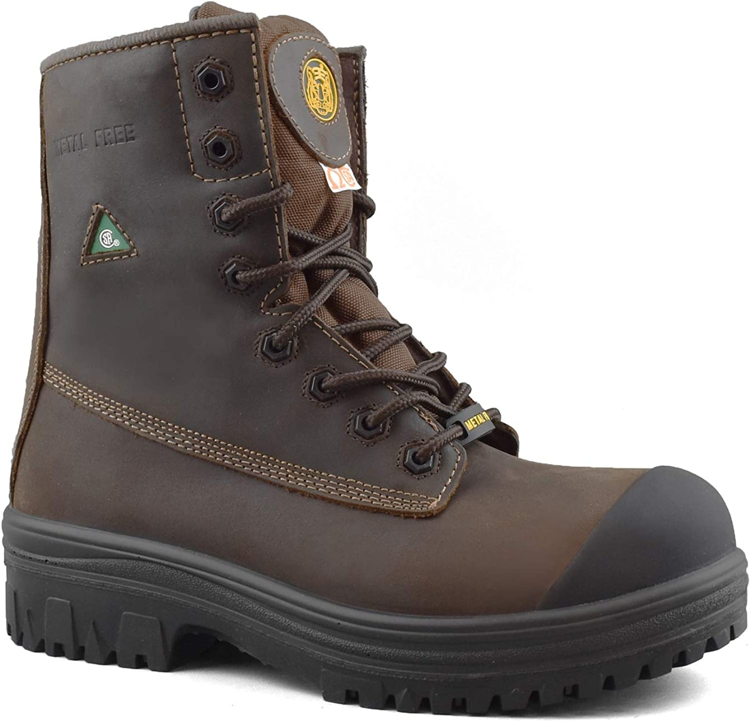 Tiger Safety CSA Men's Leather Work Safety Boots Metal Free with Rubber Outsole - 6228