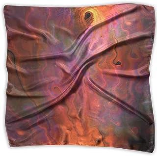 Pizeok Red Mist Print 100% Silk, Silk Scarf Square, Small Handkerchief, Bandana Classic Square Scarf Small
