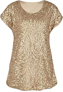 73bbe260 PrettyGuide Women's Sequin Top Shimmer Glitter Loose Bat Sleeve Party Tunic  Tops