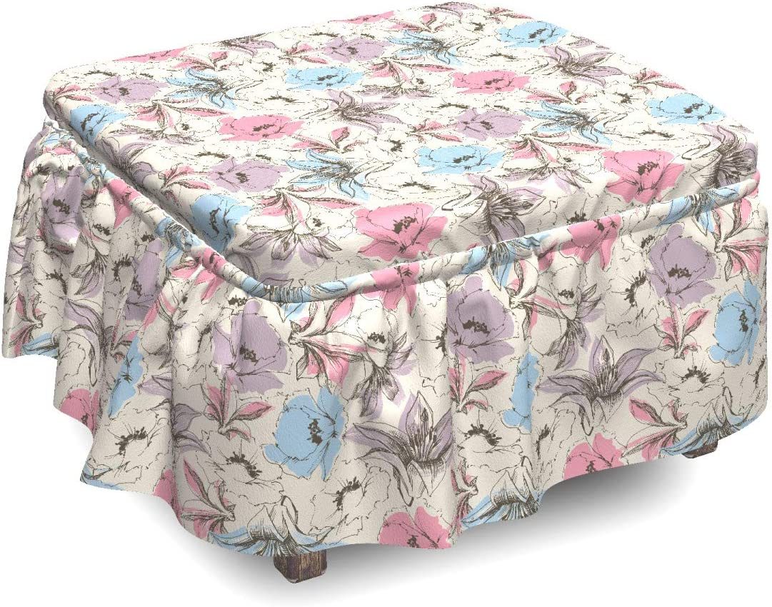 Ambesonne Floral Ottoman Cover Lily Sketch 2 Piece Poppies Don't miss the campaign and Bombing new work
