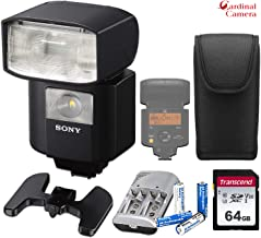 Sony HVL-F45RM Wireless Radio Flash w/Sony Carrying Case, 64GB Memory Card, 4X Pro Rechargeable AA Batteries with Charger + Standard Accessory Bundle & More