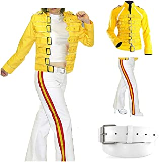 Freddie Mercury Yellow Wembley Men's & Women-Pant Faux Leather Costume's Jacket