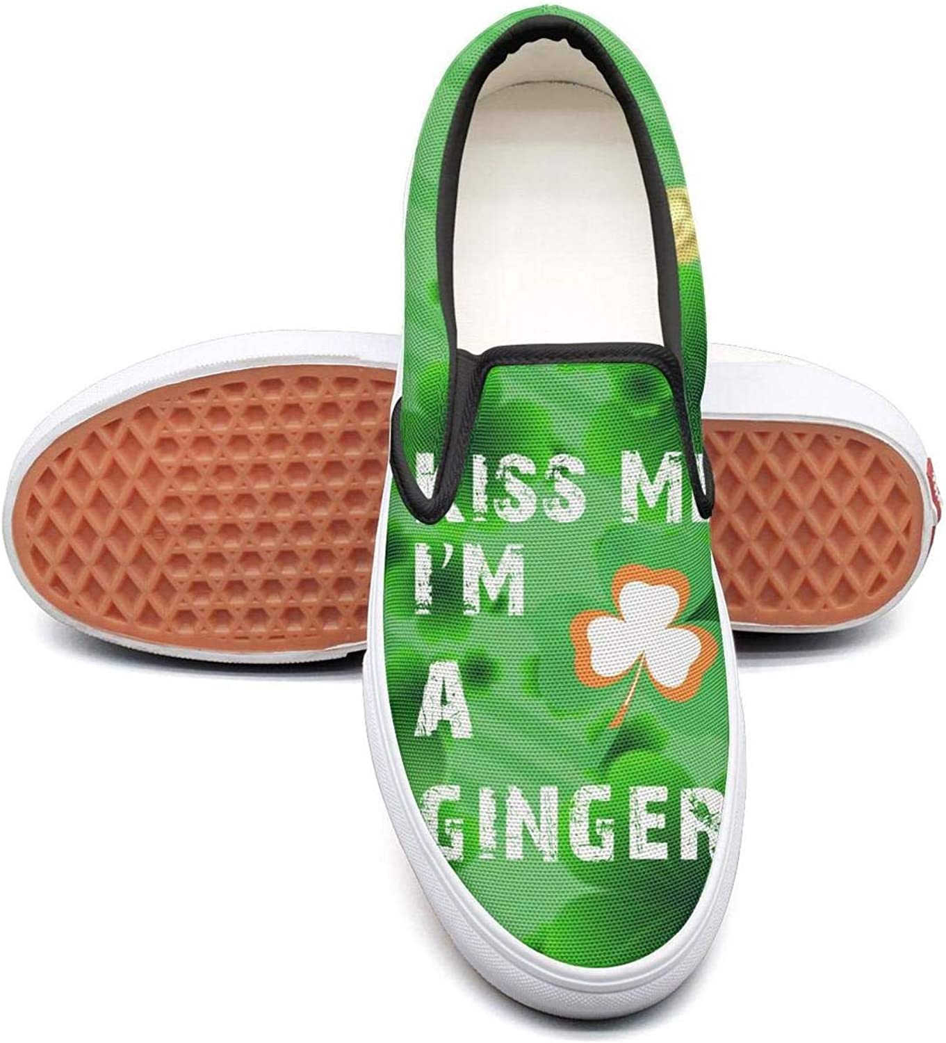 Kiss Me Im Irish Shamrock St Patricks Day Mens Casual Slip on Canvas Tennis shoes Low Top Volleyball Sneakers