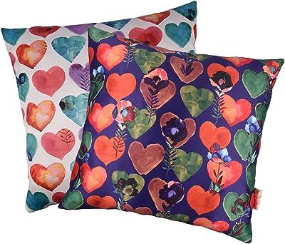 "Nostaljia 2 Piece Polyester Cushion Cover - 16""x16"", Multicolour"