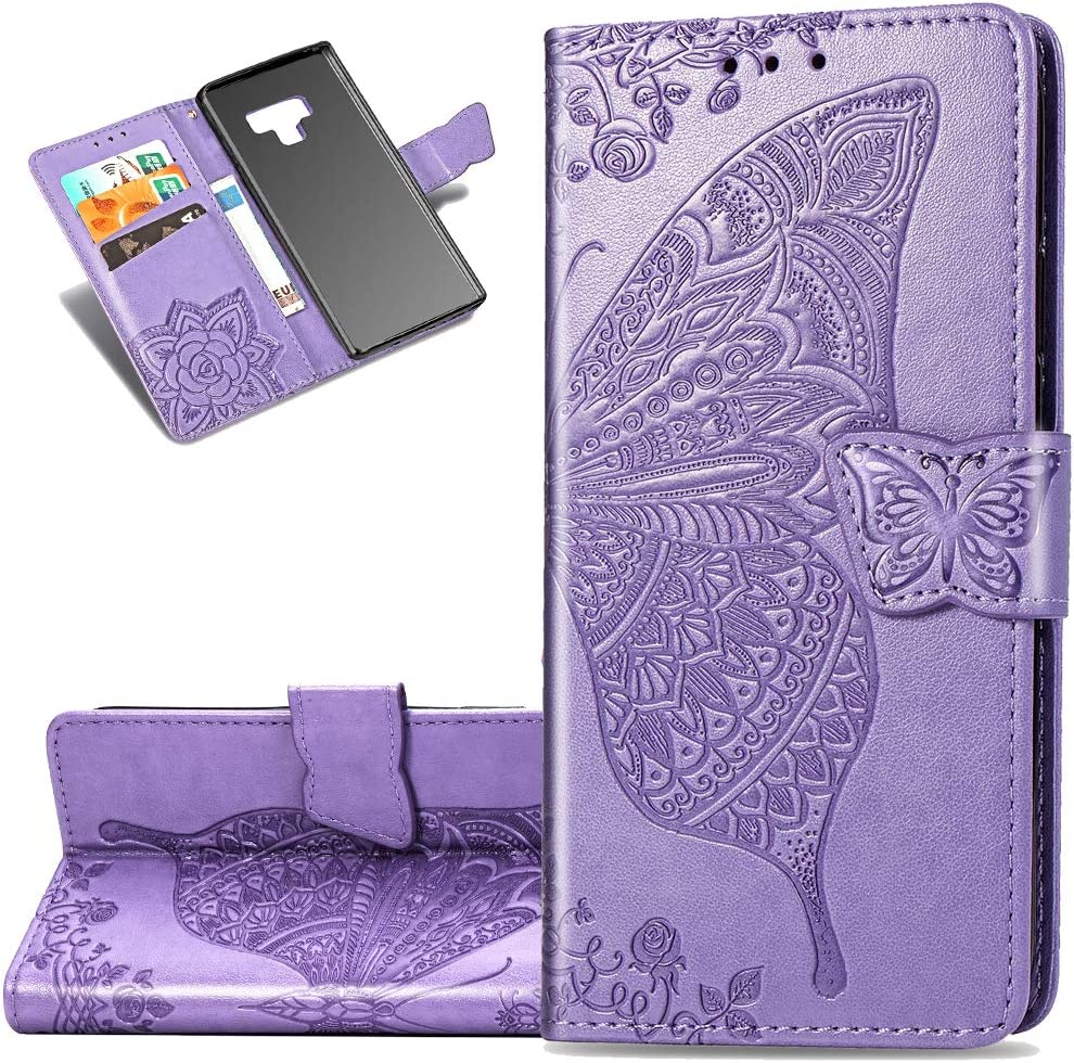 LEECOCO Samsung Note 9 Case Premium PU Leather Flip Wallet Case Butterfly Embossed Full Body Protection Flip Stand Card Holder Magnetic Cover for Samsung Galaxy Note 9 Big Butterfly Light Purple SD