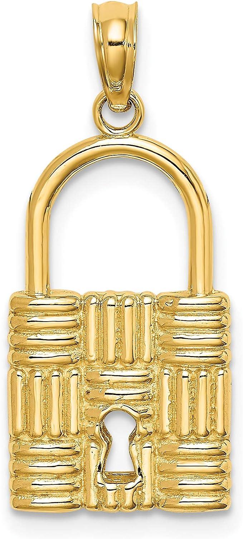 14K Yellow Gold 3-D Max 43% OFF Padlock w Cheap Hole Charm Key