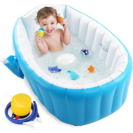 Evelyn Living Large Baby Bath Tub BPA-Free Plastic New Born to 12 Months Babies Easy Support Soap Tray Kids Bathing Bathtub Lightweight Infant Toddler Sturdy