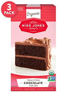 Miss Jones Baking Organic Cake and Cupcake Mix, Non-GMO, Vegan-Friendly, Moist and Fluffy: Chocolate (Pack of 3)