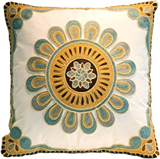 Cotton Embroidery Cushion Cover Decorative Throw Pillow Cover Plant Flower Invisible Zipper Pillow Cover for Living Room, 18x18 Inch, Multi-color