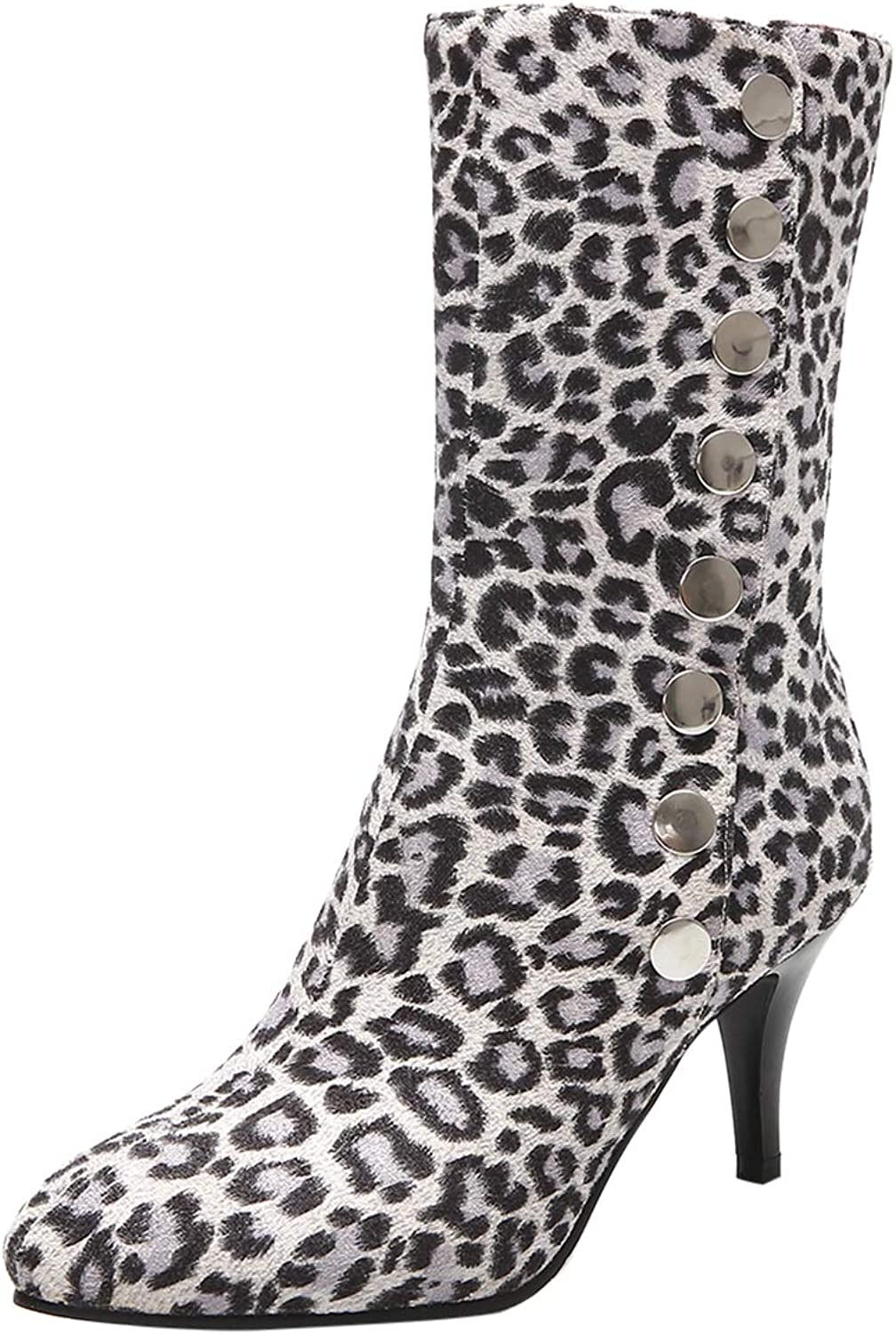 BIGTREE Ankle Boots for Women Fold Down Booties Leopard Pattern with Kitten Heels
