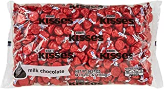 HERSHEY'S KISSES Chocolate Christmas Candy, Red Foils, Milk Chocolate, 4.1lb Bulk Candy