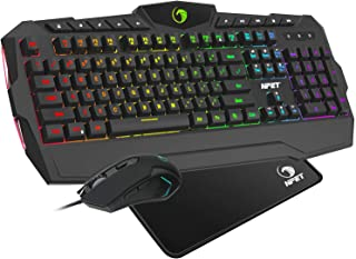 NPET S10 PC Gaming Keyboard and Mouse Combo RGB Mechanical Feeling Keyboard with Wrist Rest, 6 Buttons Gaming Mouse with 3200 DPI (Gaming Mouse and Keyboard Set)