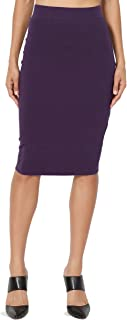 TheMogan Basic Comfort Stretch Cotton Elastic High Waist Knee Midi Pencil Skirt