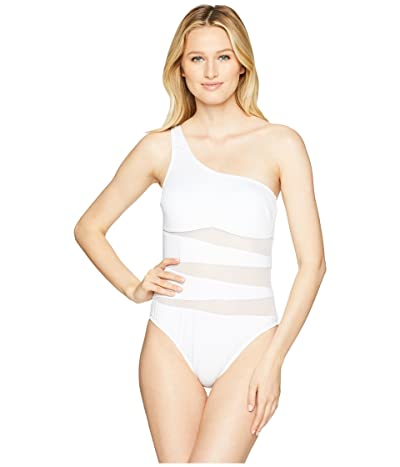 Kenneth Cole Sexy Solids One Shoulder Mio One-Piece Swimsuit (White) Women