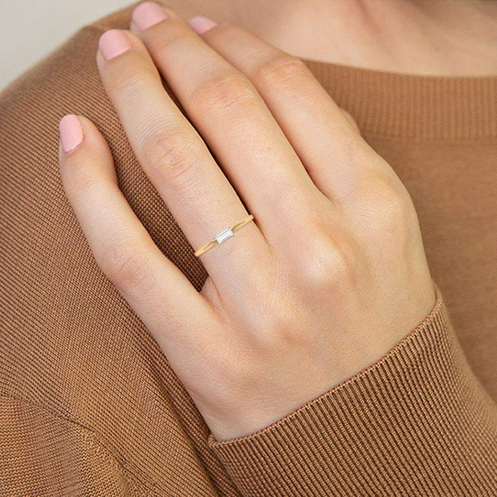 Statement Solid Gold Ring, 1/4 CT HI-SI Baguette Shape Diamond Ring, Solitaire Engagement Ring, Unique Anniversary Ring, Wedding Bridal Ring, 14K Gold