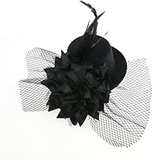 Tinksky Mini Flower Decor Hair Clip Feather Punk Top Hat for Ladies (Black)